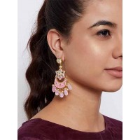 Gold-Toned Pink Kundan & Meena Studded Brass Dangle Earrings