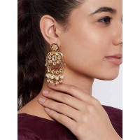 Gold-Toned Red Kundan Studded Meenakari Brass Dangle Earrings