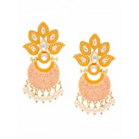 Gold-Toned Peach Kundan Studded Meenakari Brass Dangle Earrings