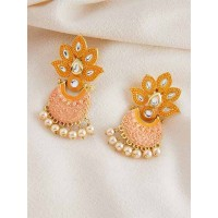 Gold-Toned Peach Kundan & Meenakari Brass Earrings