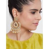 Golden and Red Kundan Studded Brass Dangle Earrings