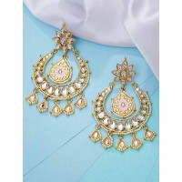 Golden and Pink Kundan Studded Brass Dangle Earrings