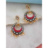 Blue and Pink Kundan Studded Brass Enamel Earrings