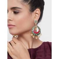 Green and Pink Kundan Studded Brass Enamel Earrings