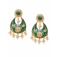 Gold-Toned Green Meenakari Brass Earrings