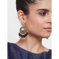 Gold-Toned Black Meenakari Brass Earrings