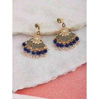 Gold-Toned Blue Meenakari Brass Dangle Earrings