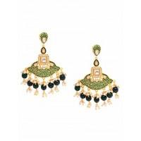 Gold-Toned Green Meenakari Brass Dangle Earrings