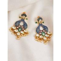 Gold-Toned Blue Kundan and Meena Studded Brass Dangle Earrings