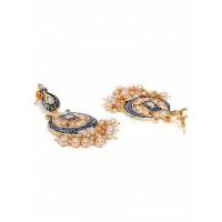 Blue Kundan & Meena Studded Brass Dangle Earrings