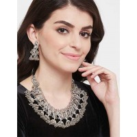 Peacock Afgani Oxidized Silver Necklace Set