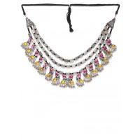 Steel-Toned & Multicolored Stone-Studded Statement Necklace