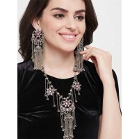 Silver-Toned Pink Chandbali Necklace Set With Metallic Tassels