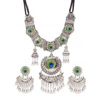Silver Plated Brass Peacock Statement Necklace Set