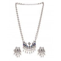 Silver Plated and Beaded German Silver Necklace Set