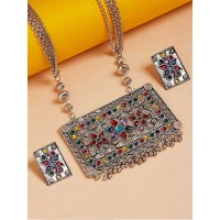 Multicolored Silver Plated German Silver Necklace Set
