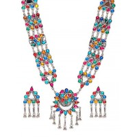 Floral Multicolored Silver Plated German Silver Necklace Set