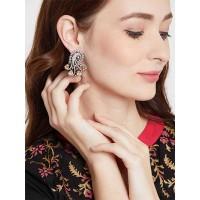 Zircon and Yellow Crystal Stone Studded Brass Earrings