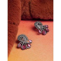 Zircon and Mauve Crystal Stone Studded Brass Earrings