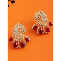 Zircon and Red Crystal Stone Studded Brass Earrings
