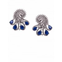 Zircon and Blue Crystal Stone Studded Brass Earrings