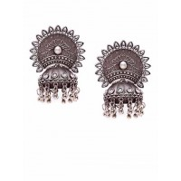 Silver-Toned Brass Jhumka Earrings