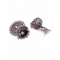 Short Silver Plated Brass Jhumka Earrings
