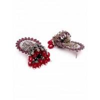 Silver-Plated Pink Gemstones Studded Tribal Jhumkas