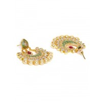 Green Gold Plated Kundan Studded and Beaded Handcrafted Jewellery Set