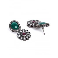 Green Silver Plated Kundan Studded and Beaded Handcrafted Jewellery Set
