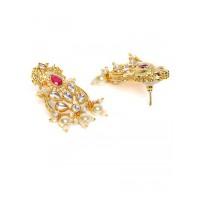 Gold-Toned and Peach Kundan Stone Studded Jewellery Set