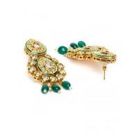 Green Gold-Plated Kundan Studded Statement Choker Necklace Set