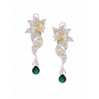 Silver-Plated Yellow & Green Gemstones Studded American Diamond Earrings