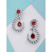 Silver-Plated Red Gemstones Studded American Diamond Earrings