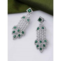 Silver-Plated Green Gemstones Studded American Diamond Earrings