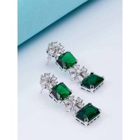 Green American Diamond Earrings With Silver Plating