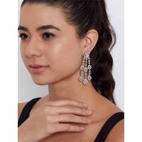 Silver-Plated American Diamond Dangle Earrings