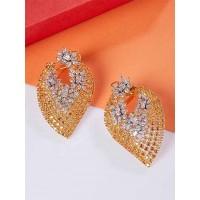 Silver-Plated American Diamond Leaf Earrings