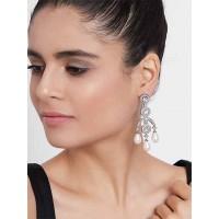 Silver-Plated American Diamond Earrings