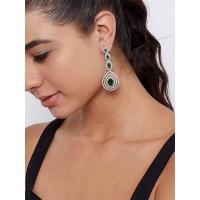 Silver Plated Gemstones Studded American Diamond Earrings