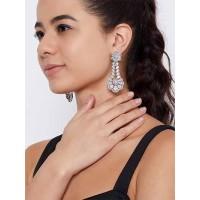 Silver-Plated Flower American Diamond Dangle Earrings