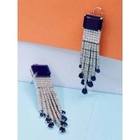 Silver-Plated Blue Gemstones Studded American Diamond Earrings