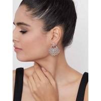 Silver-Plated Yellow Gemstones Studded American Diamond Earrings