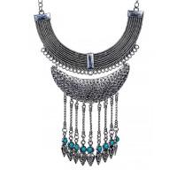 Silver Multi Layer Collar Tassel Fashion Necklace