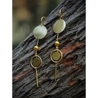 Bella Brass Plated Long 9 to 5 Office Wear Jewellery Earrings