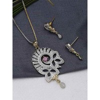 American Diamond Floral Pendant Necklace Set with Red Stone