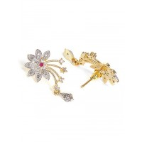 American Diamond Mangalsutra with Designer Flower Pendant and Earrings