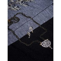 American Diamond Mangalsutra with Classic Pendant and Earrings