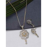 American Diamond Classic Floral Pendant Necklace Set