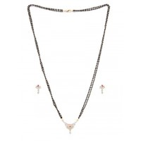 American Diamond Mangalsutra with Red Stone Pendant and Earrings